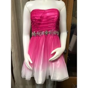 Pink and white ombre prom dress